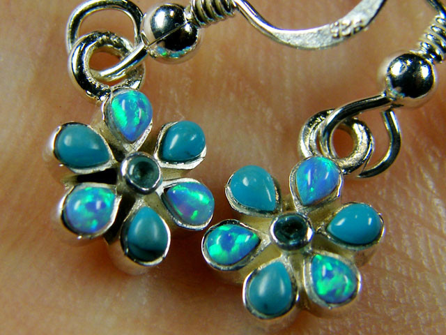 IMO OPAL CLUSTER STERLING SILVER EARRINGS MYT665