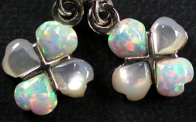 IMO OPAL/SHELL CLUSTER STERLING SILVER EARRINGS MYT685