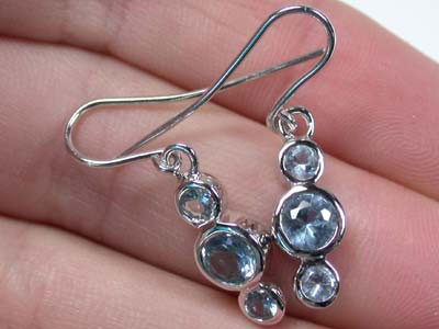 MODERN AQUAMARINE LIKE STERLING SILVER EARRINGS AAA581