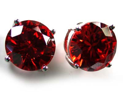 MODERN ALLURING RUBY LIKE STERLING SILVER EARRINGS AAA611