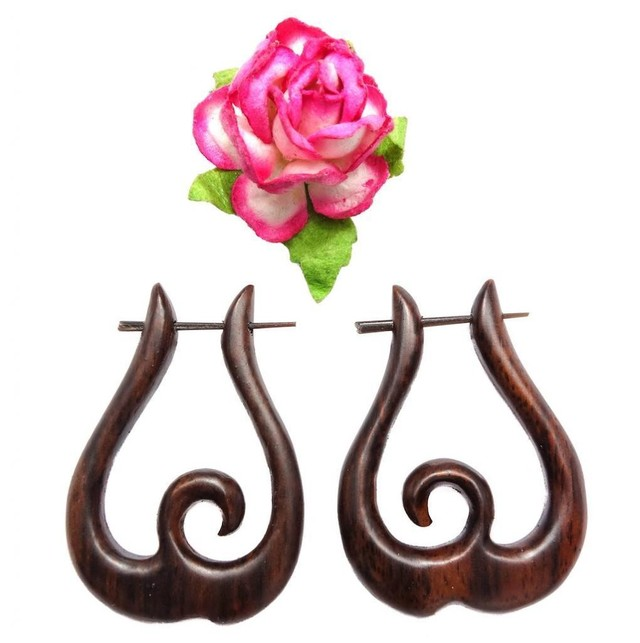 French Curl Hoops Stick Earrings Brown Sono Wood
