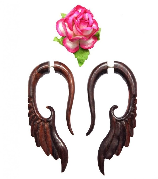 Little Wings, Fake Gauges Brown Sono Wood Earrings