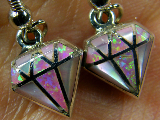 IMO OPAL INLAY   STERLING SILVER EARRINGS     MYT662