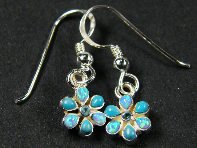 IMO OPAL CLUSTER   STERLING SILVER EARRINGS     MYT666