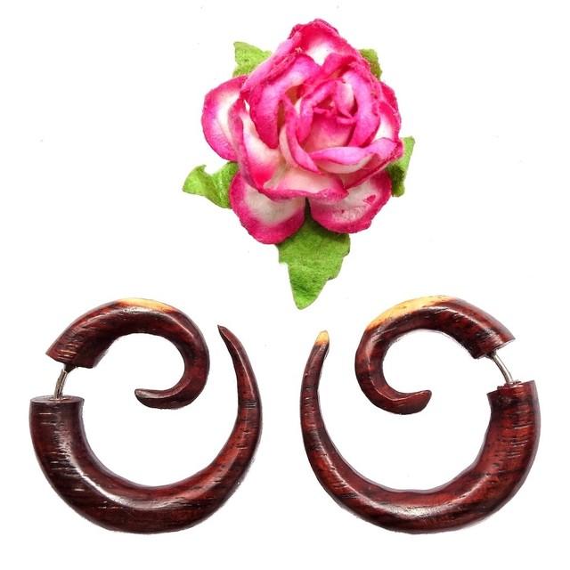 French Spiral Fake Gauge Earrings Brown Sono Wood