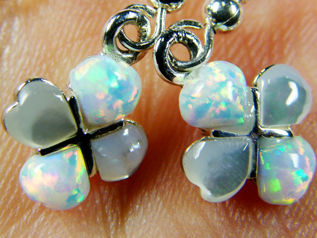 IMO OPAL/SHELL CLUSTER   STERLING SILVER EARRINGS     MYT672