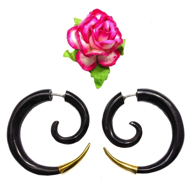 Good Life Spirals, Fake Gauges Black Horn Earrings