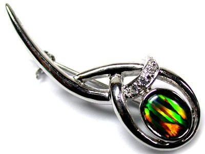 TRIPLET SIMULANT OPAL BROOCH WITH DIAMANTEES MYJA 911