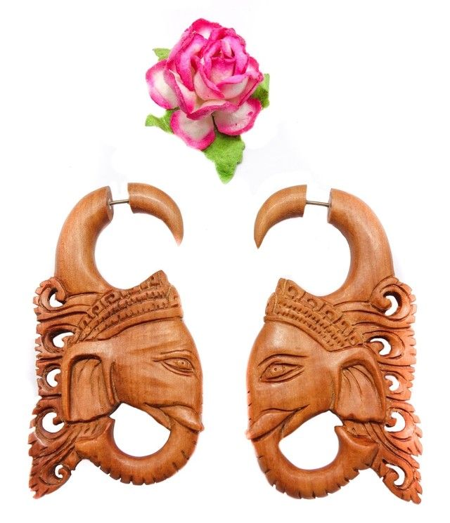 Ganesh Fake Gauge Earrings Brown Sono Wood