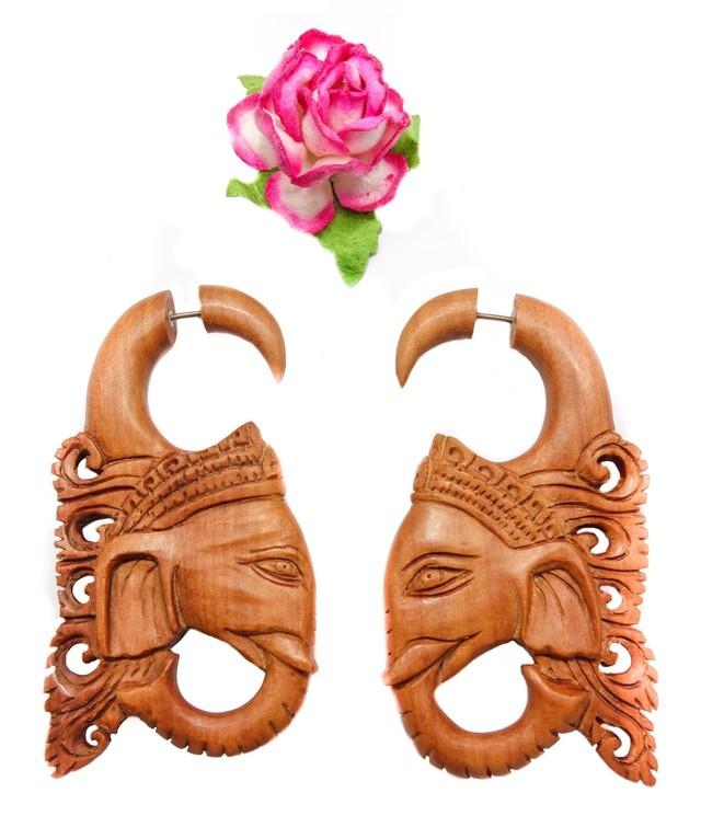 Ganesh Fake Gauge Earrings Brown Sono Wood