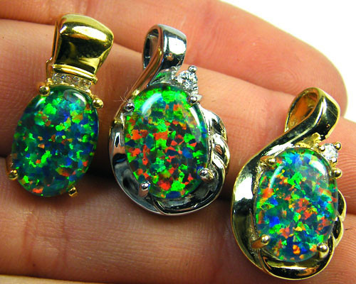 3 BRIGHT OPAL STER SILVER G/PLATE PENDANTS  SCA1613