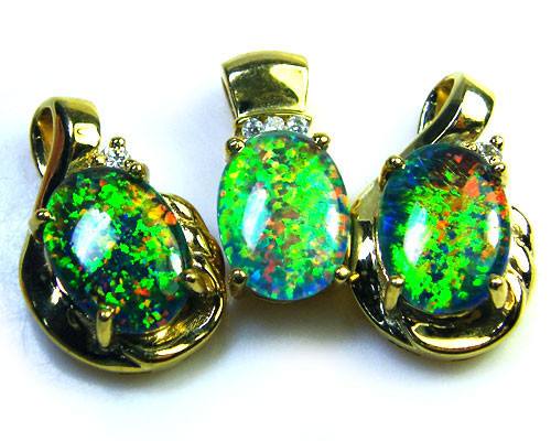 3 BRIGHT OPAL STER. SILVER G/PLATE PENDANTS SCA1607