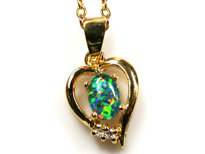BEAUTIFUL MAN MADE GEM OPAL PENDANT ML550a