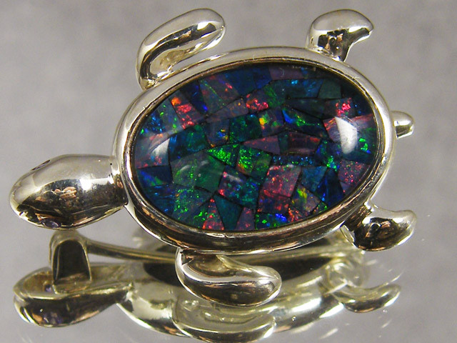 MOSAIC OPAL STERLING SILVER BROOCH  CJ 548 ML