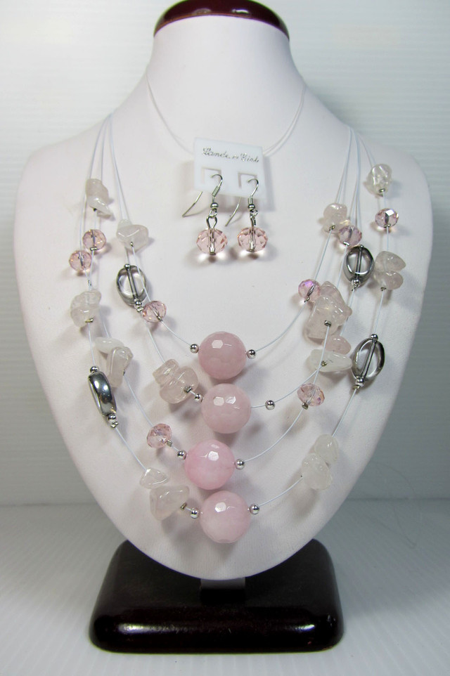 ROSE QUARTZ NECKLACE WITH MATCHING EARRINGS  QT101