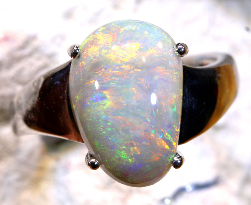 Natural Australian Solid Opal Ring Laz-N509