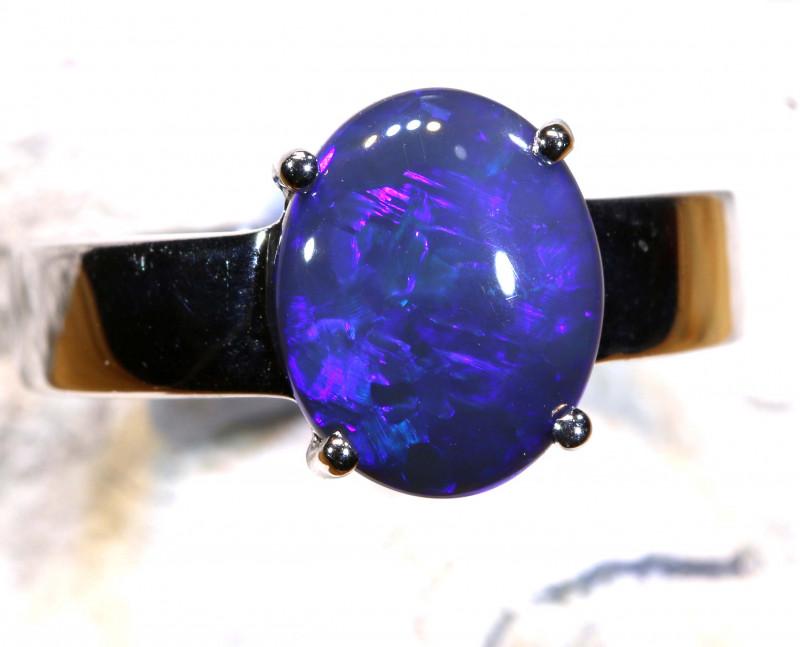 Natural Australian Solid Opal Ring Laz-M724