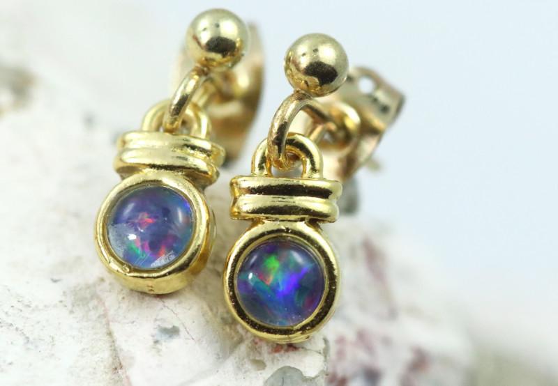 Gem Opal Triplet set in Gold Plate drop swing Earring GJC 235