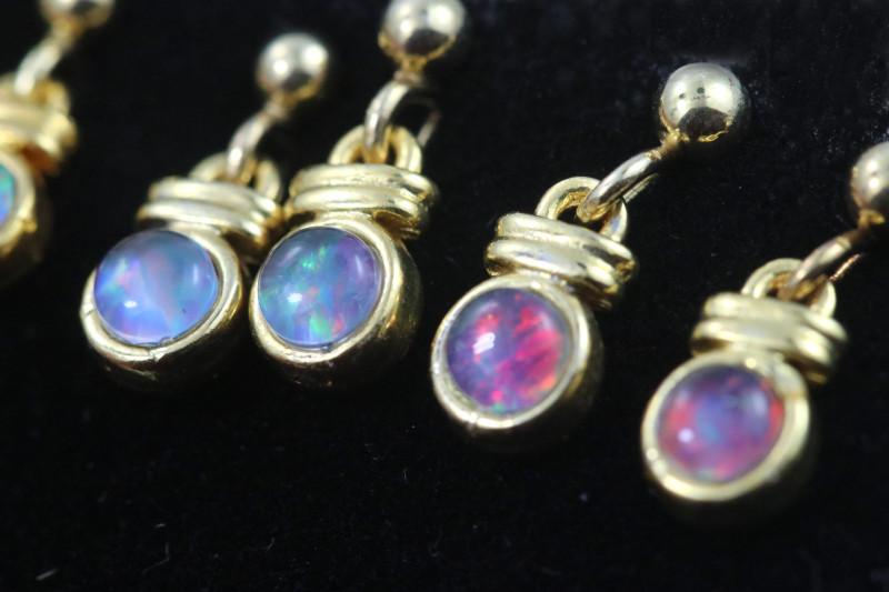 4 x Gem Opal Triplet set in Gold Plate drop swing Earring GJC 238