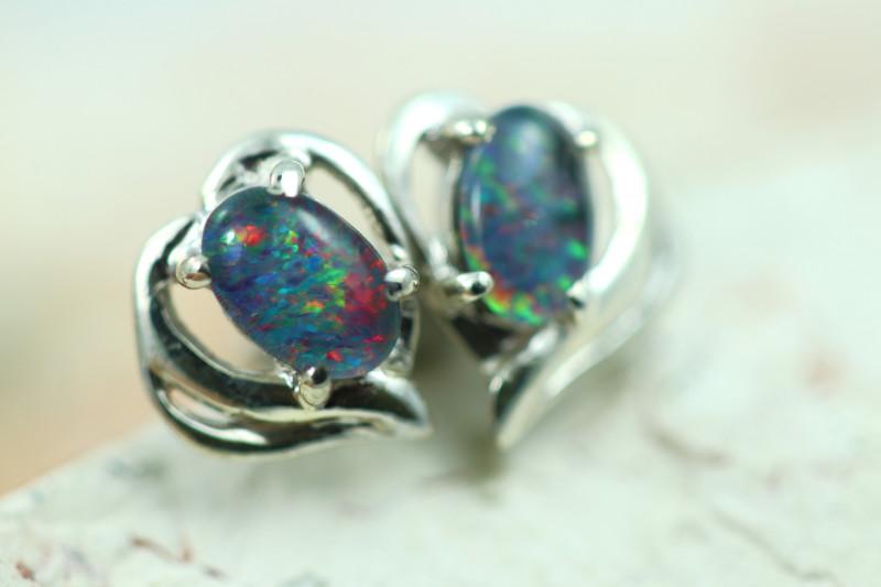 Gem Opal triplet Silver Earrings   NA 821