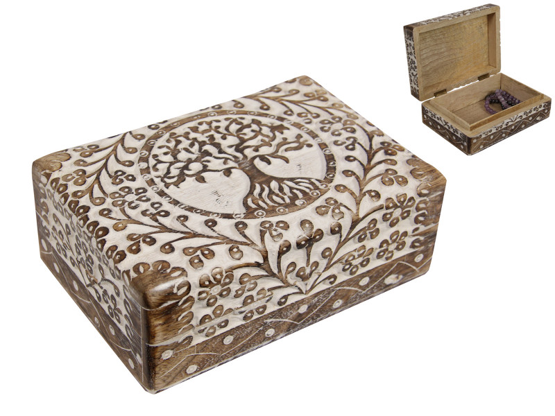 Tree Of Life  Chest White Wash  Wood jewellery Box   code  BOXTOLBH