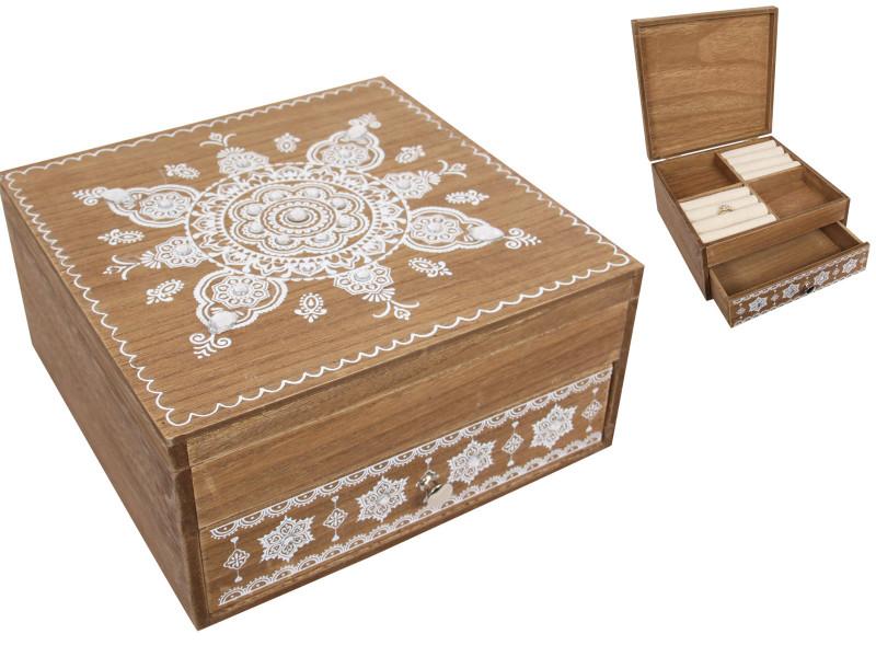 Treasure chest Boho Mandala Jewellery Box with draw code  BOHOBOXJ