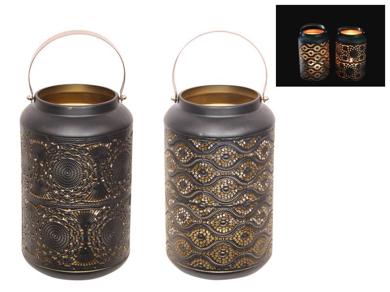 Large Black and Gold Lantern W/ Handle 2 pcs  Code LANBGGHL