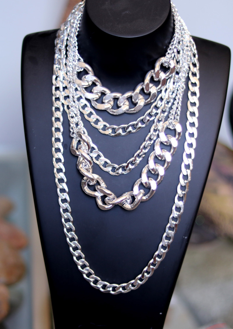 Bohemia  Chunky Lightweight Silver Necklace CCC 195
