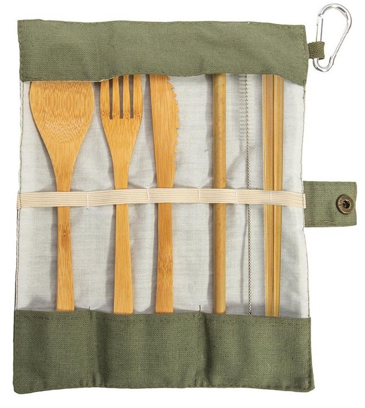 Green Set of Eat-Out Bamboo Travel Cutlery  code 88085