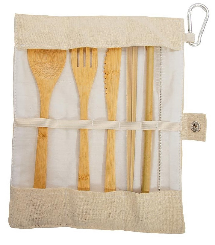 Cream Set of Eat-Out Bamboo Travel Cutlery code 88085