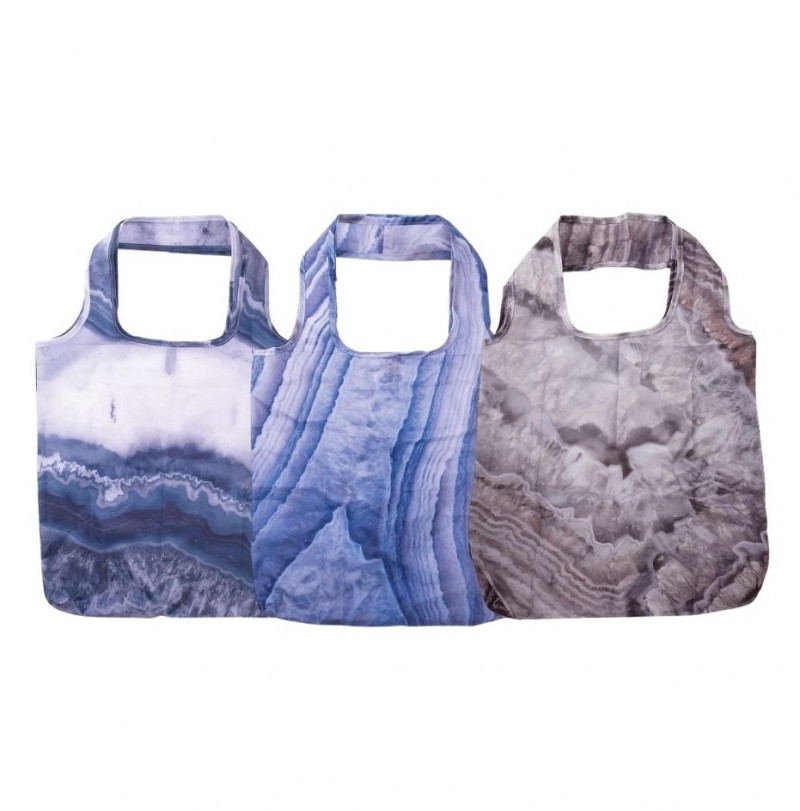 Set of 3 Foldable Shopper With Clip Geode code 35406