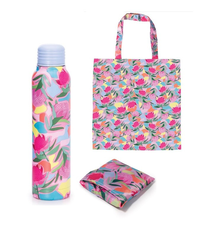 Promotion of Pink Water Bottle and Foldable Bag   code 15077/15172
