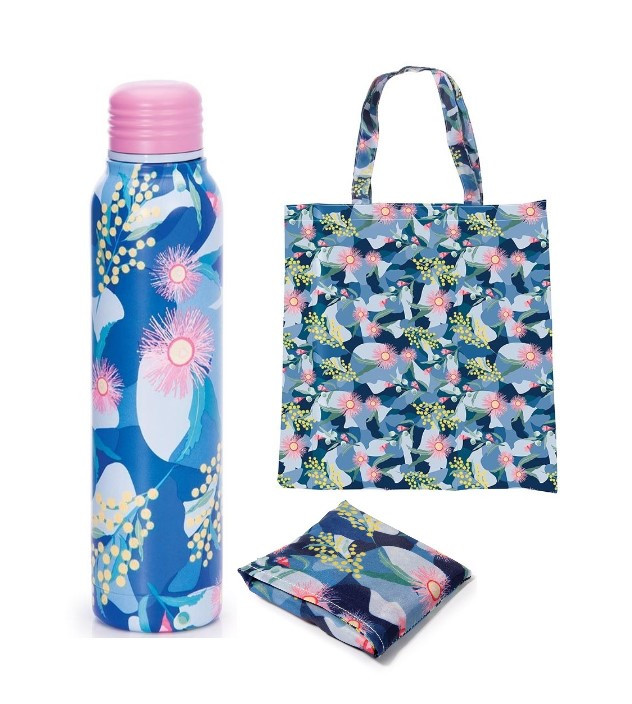 Promotion of Blue Water Bottle and Foldable Bag code 15077/15172