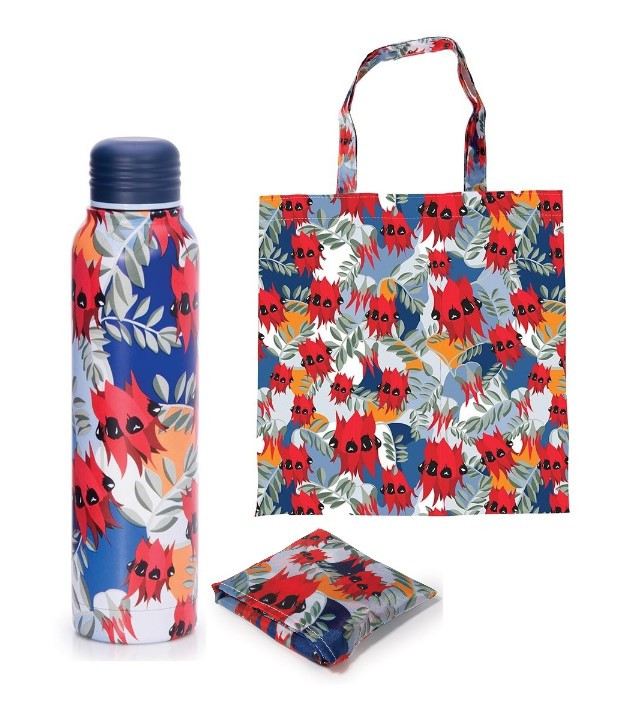 Promotion of Red Water Bottle and Foldable Bag code 15077/15172