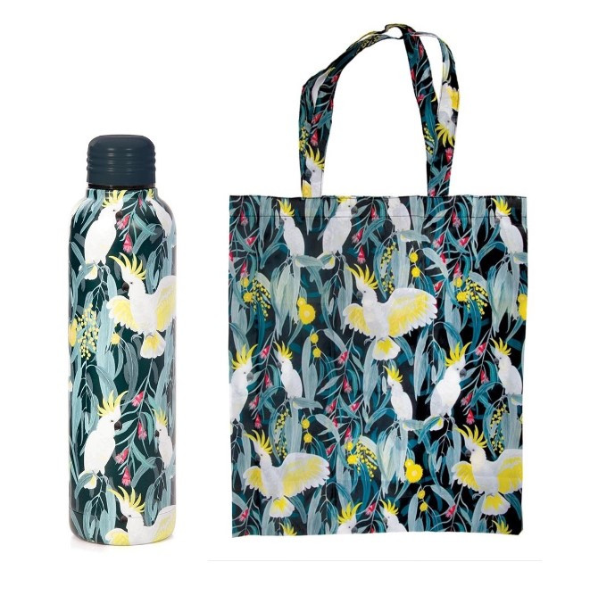 Promotion of Cockatoo Water Bottle and Foldable Bag codes 15078/15177