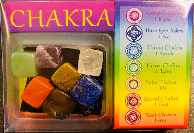 One box Seven  Chakra Stones in display box Code CHAKROCK