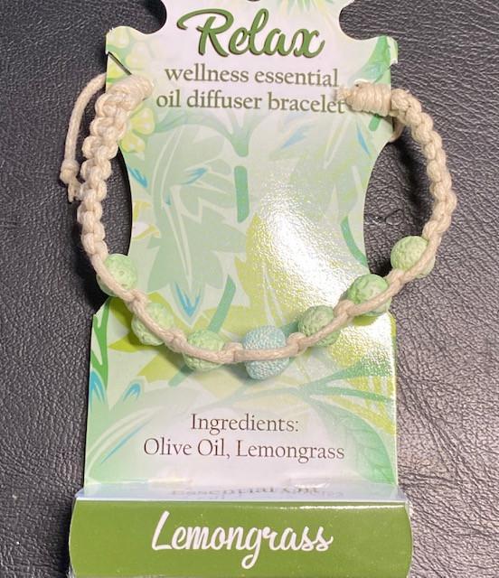 Lemon Grass Wellness Oil Diffuser Lava stone  Bracelet code WELLOIL