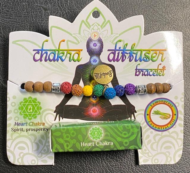 Heart Chakra Tree Of life lava Stone  Diffuser Bracelet  Code CHAKDIF