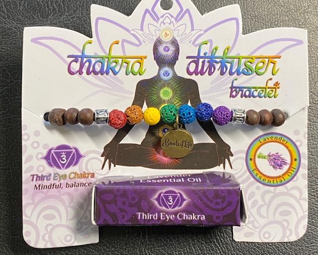 Third Eye   Chakra lava stone  Diffuser Bracelet  Code CHAKDIF