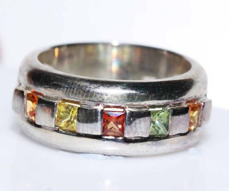 PARTY SAPPHIRES IN STERLING SILVER RING SIZE O  code GTJA405