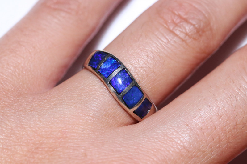 BEAUTIFUL SILVER OPAL INLAY RING P  ADJUSTABLE   code RN05