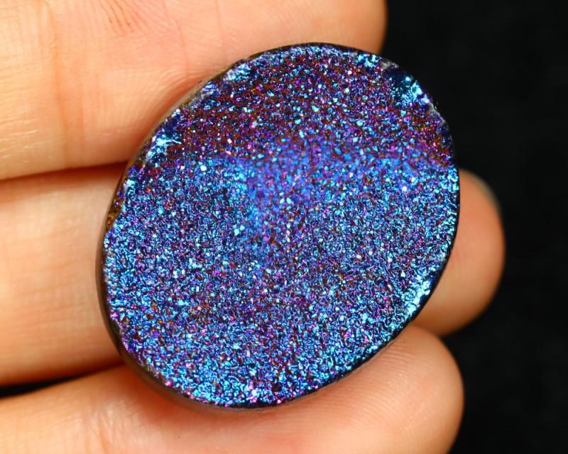 24.62 Cts Titanium Color Coated  Druzy Agate  CCC 441