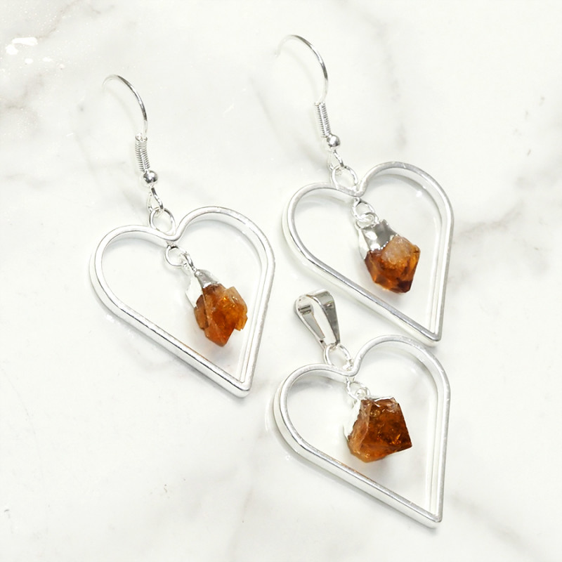 Raw Citrine Gemstone Lovers Heart Pendant and Earring Pack - BRLHC - Set4