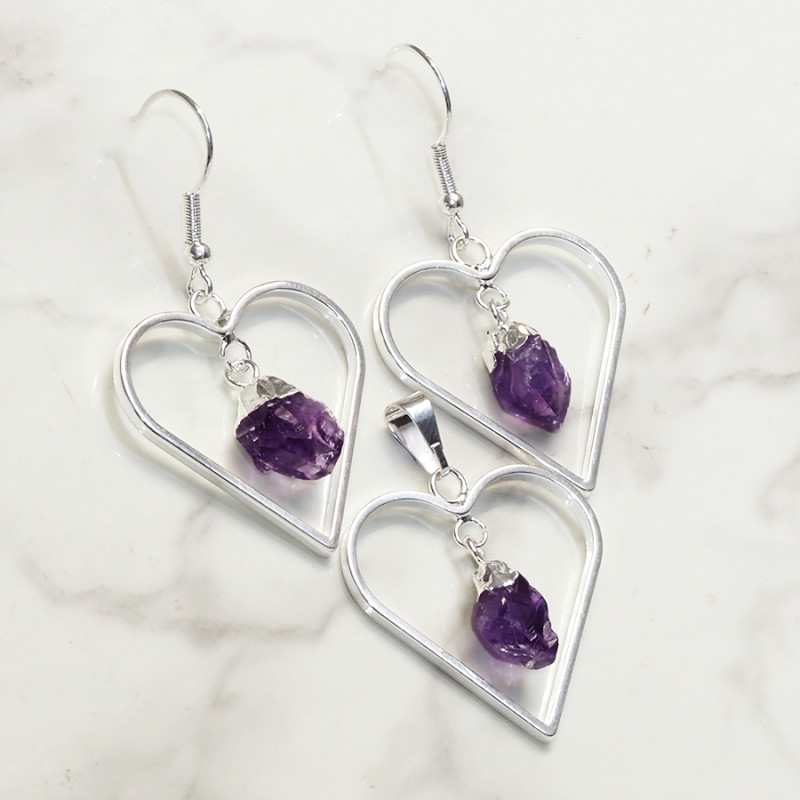 Raw Amethyst Gemstone Lovers Heart Pendant and Earring - BRLHA - Set1