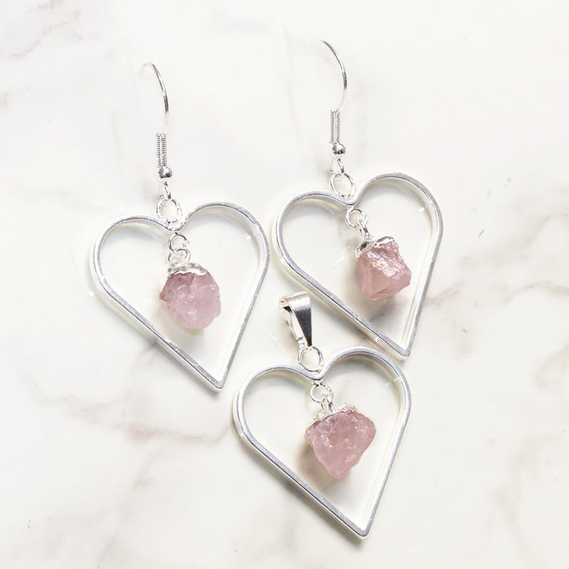 Raw Rose Quartz Gemstone Lovers Heart Pendant and Earring Pack - BRLHRQ - S