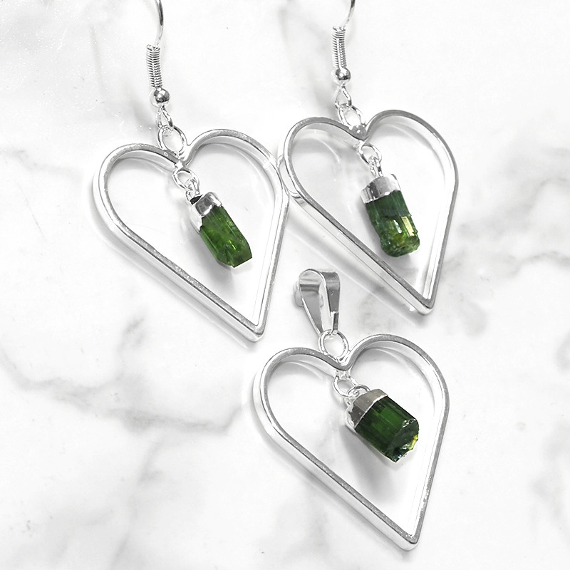 Green Tourmaline Lovers Heart Pendant and Earring - BRLHGBT - Set1