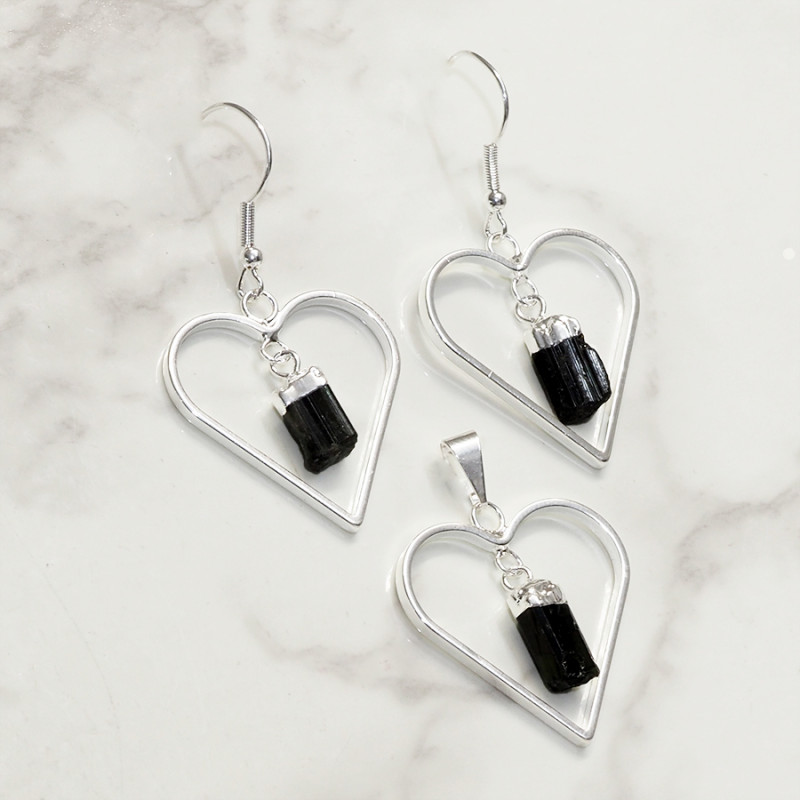 Black Tourmaline Lovers Heart Pendant and Earring - BRLHBT - Set1