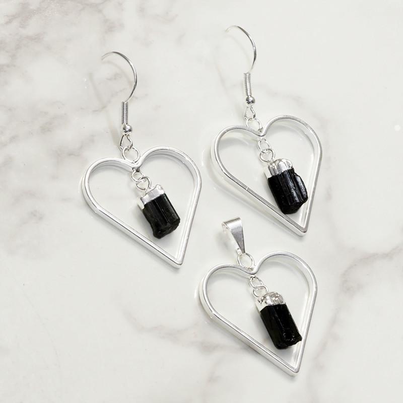 Black Tourmaline Lovers Heart Pendant and Earring Pack - BRLHBT - Set4