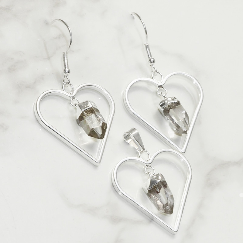 Raw Crystal Gemstone Lovers Heart Pendant and Earring  Pack - BRLHCRY - Set