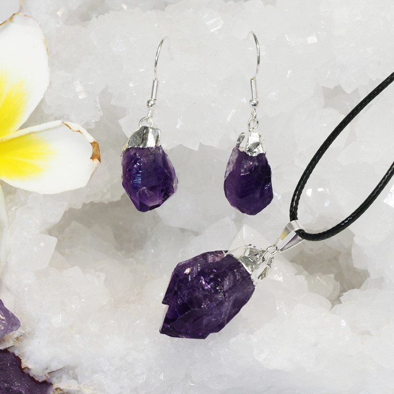 Raw Amethyst Electroform Points Pendant and Earring Pack - BREAMP - Set 4
